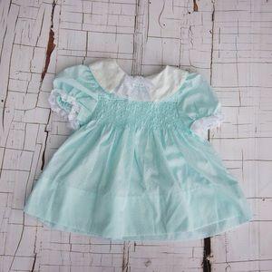 Vintage Baby Girl Dress Teal Polly Flinders 9